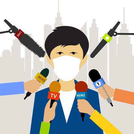 Reporters interview a man in a protective mask vector illustration Иллюстрация