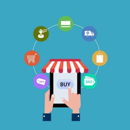 online shopping flat style vector illustration
