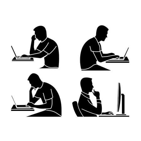 Person at the computer vector icon.