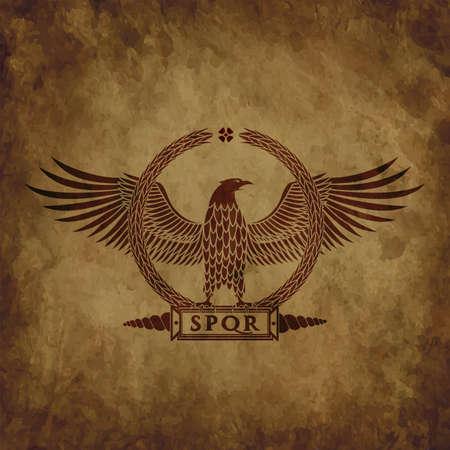 The Roman eagle on an old shabby texture. Çizim
