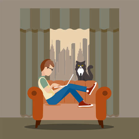 Man working remotely at home at the computer vector illustration