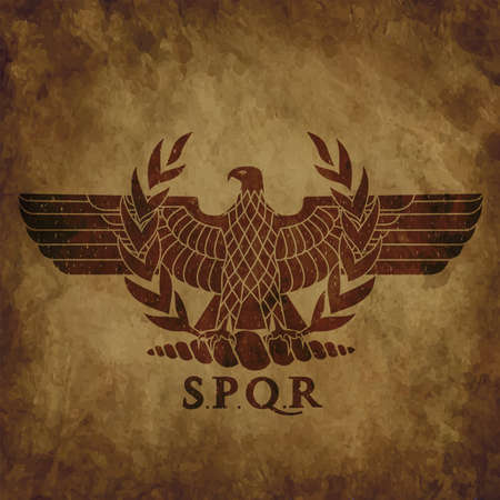 The roman eagle on an old shabby texture.