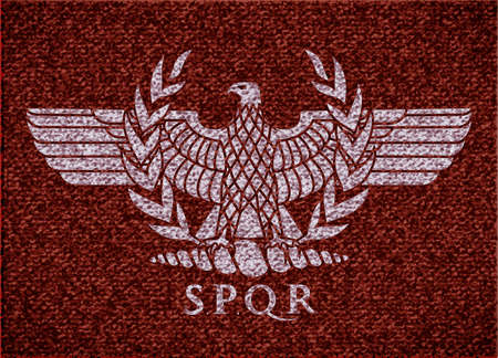 Image of roman eagle on fabric texture