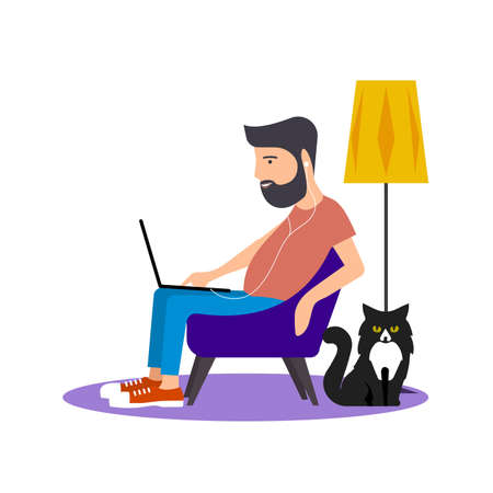 Man at computer in home setting vector illustration. Иллюстрация