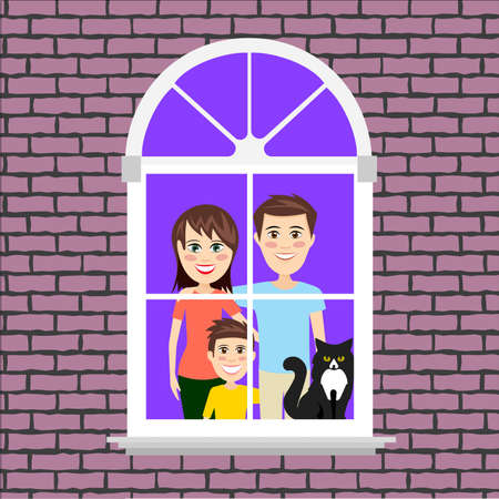 Funny people in the house outside the window vector illustration Çizim