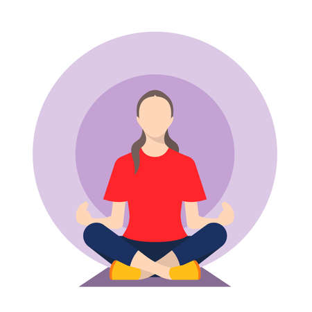 Girl doing yoga vector illustration Иллюстрация