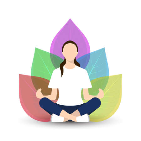 Girl doing yoga vector illustration Çizim