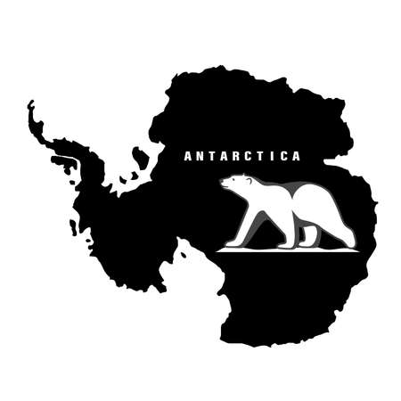 Polar bear on the background of the mainland antarctica vector icon