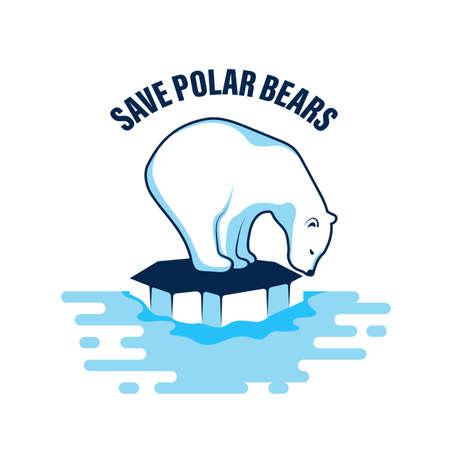 Polar bear vector icon on an ice floe