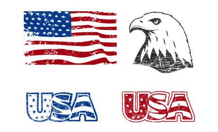 American symbols in grunge style Çizim