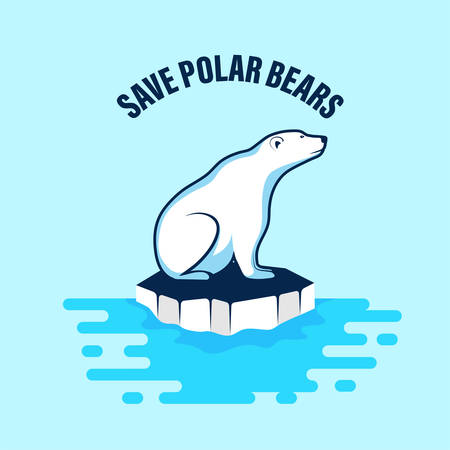 Polar bear vector icon on an ice floe