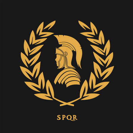 Symbol Roman warrior in a laurel wreath Иллюстрация