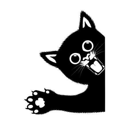 drawing angry kitten vector illustration