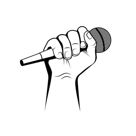 hand with microphone vector illustration Иллюстрация