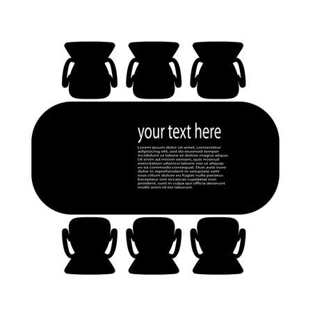 Table for business meetings top view vector illustration