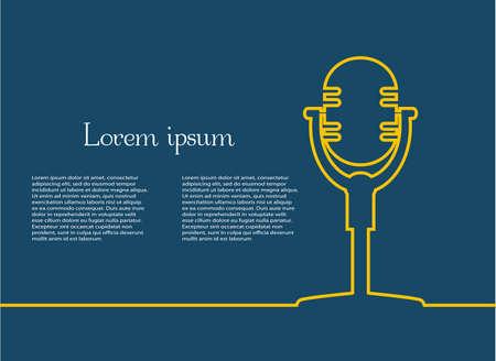 Retro microphone on  blue Çizim