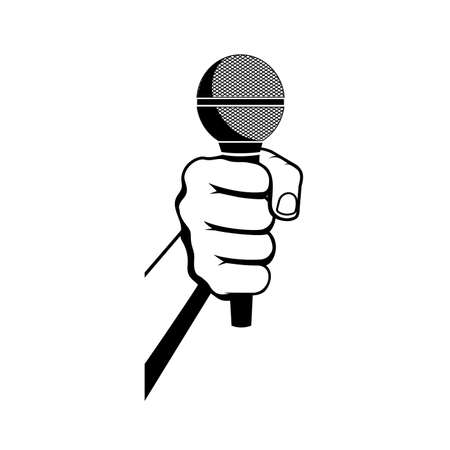 hand with microphone vector illustration Çizim