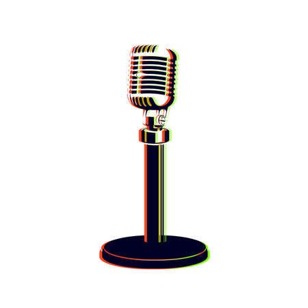 retro microphone style glitch vector illustration