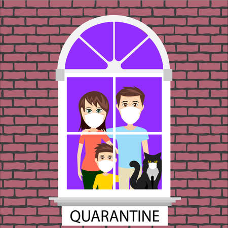 People quarantined at home vector illustration Çizim
