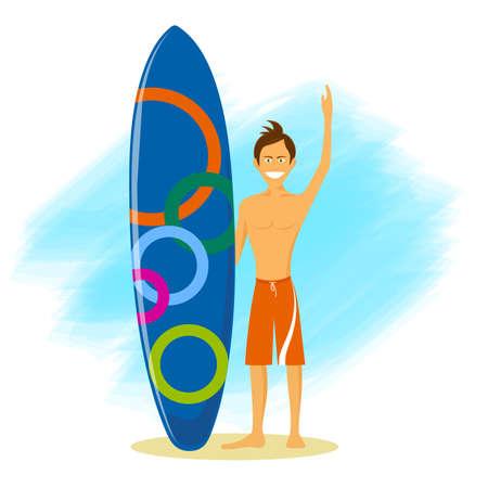 cartoon funny surfer vector illustration