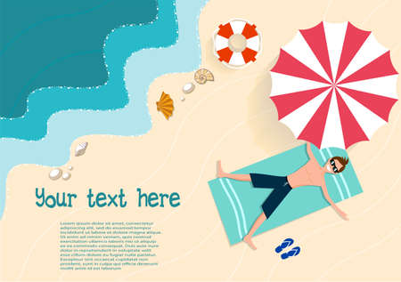 Summer holiday on the beach flat style vector illustration