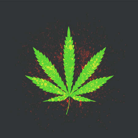 Cannabis leaf in grunge style vector illustration Иллюстрация