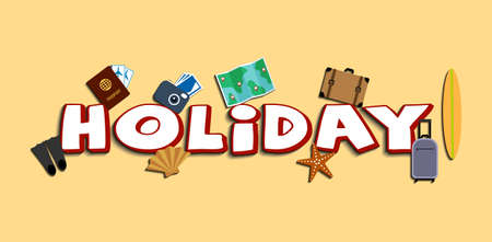 lettering holiday with icons set theme vector illustration