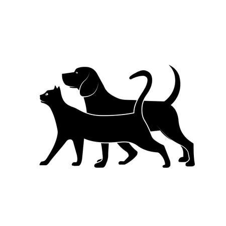 Pet silhouettes cat and dog vector illustration