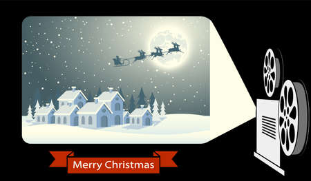 old movie christmas vector illustration