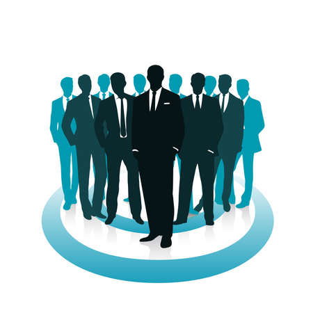 group of businessmen leadership concept vector illustration