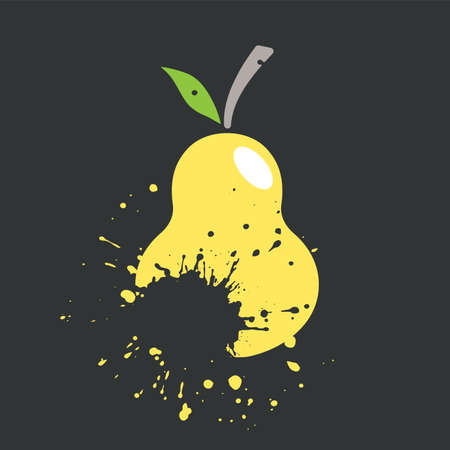 pear icon in grunge style vector illustration Иллюстрация