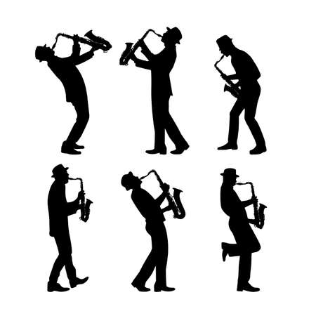 silhouette jazz musician set vector illustration