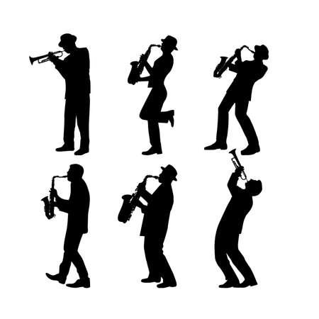 silhouette jazz musician set vector illustration