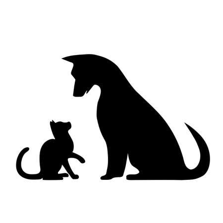 silhouette of dog and kitten illustration illustration
