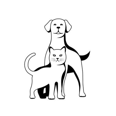 silhouette of dog and kitten illustration