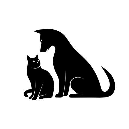 silhouette of dog and kitten illustration