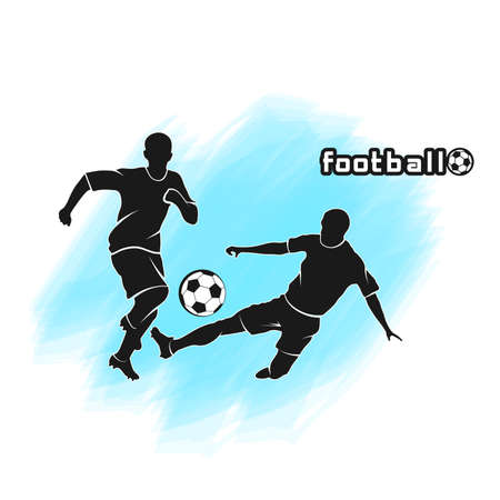 silhouettes of playing soccer players vector illustration