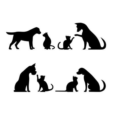 Set dog and cat vector illustration Vektorové ilustrace