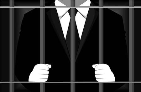 Man in business suit behind bars vector illustration