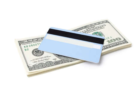 money and credit card a white background photo