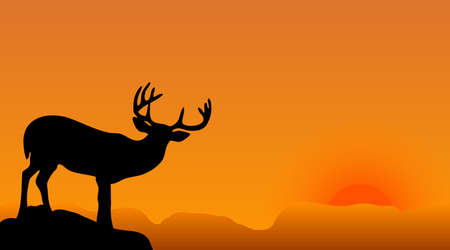 taxidermy: deer silhouette with big horns on a sunset Illustration