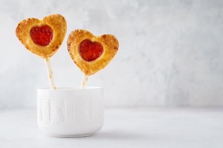 Valentine heart shaped strawberry pie pops or cake pops. Dessert concept. 写真素材