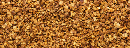 Homemade healthy granola with oats, nuts and honey. Granola background. Web banner. Top view. Stok Fotoğraf