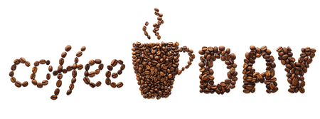 Coffee Day creative banner. Coffee cup made of coffee beans and text. Food lettering.