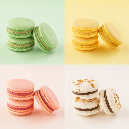 Food collage of colorful macarons on same color backgrounds. Creative background design.
