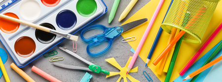 Set of colorful stationery supplies for school and children creation. Back to school concept. Banner.