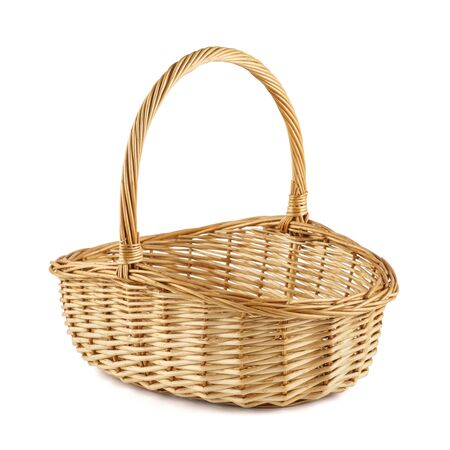 Empty wicker picnic basket isolated on white.