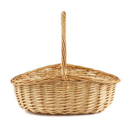 Empty wicker picnic basket isolated on white. Side view.