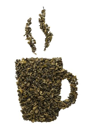Tea cup icon made of dry Oolong tea leaves. Isolated on white background.