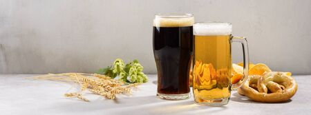 Various types of freshly poured beer - light and dark and snack variety. Beer ingredients in the background. Banner. Copy space.